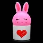 Cute Rabbit Style Light Activated LED Night Lamp - White + Pink (3-flat-pin plug)