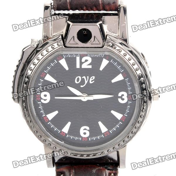 Cool 2-in-1 PU Leather Band Wrist Watch w/ Butane Flame Lighter - Black (1 x SR626SW)