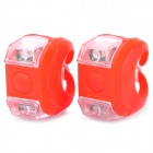 Silicone 2-LED 3-Mode Red Light Bike Bicycle Light - Red (2-Piece Pack)