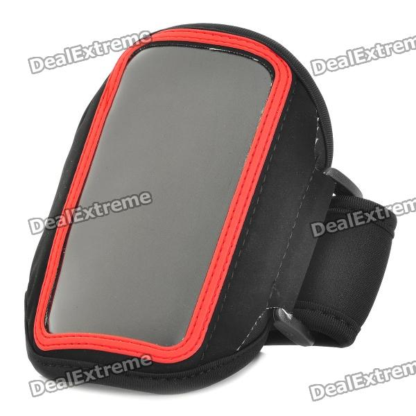 Stylish Sports Armband Pouch for Iphone 4 / Iphone 4S / HTC G22 / HTC G21 - Black + Red zippered sports armband bag pouch for iphone 4 dark blue