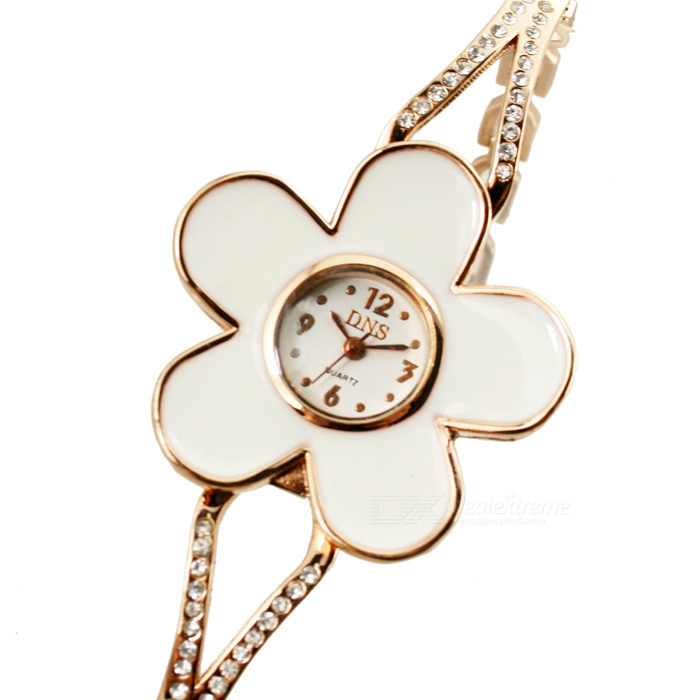 Charming Lady's Quartz Wrist Watch with Plum Blossom Style Dial - Golden + White (1 x 377) elegant bracelet style wrist watch coffee golden 1 x 377