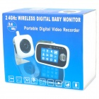 "2.4GHz Wireless Digital Baby Monitor Security Camera w/ 8-LED IR Night Vision/TF - White (3.2"" LCD)"