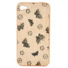 Beautiful Butterflies & Flowers Pattern Protective Electroplate PC Case for iPhone 4 / 4S - Golden