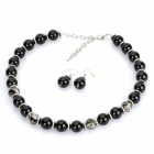 Elegant Black Imitation Pearls Necklace + Earrings Set