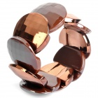 Stylish Round Acrylic Piece Bracelet - Dark Coffee + Golden
