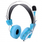 S-T11 Stereo Headset Headphone w/ Microphone / Volume Control - Blue (Dual 3.5mm Jack)