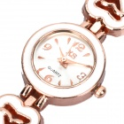 Lady's Stylish Heart Band Quartz Wrist Watch - Golden + White (1 x 377)