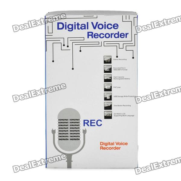 "1.0"" LCD Voice Recorder with MP3 Music Player - Silver (4GB)"