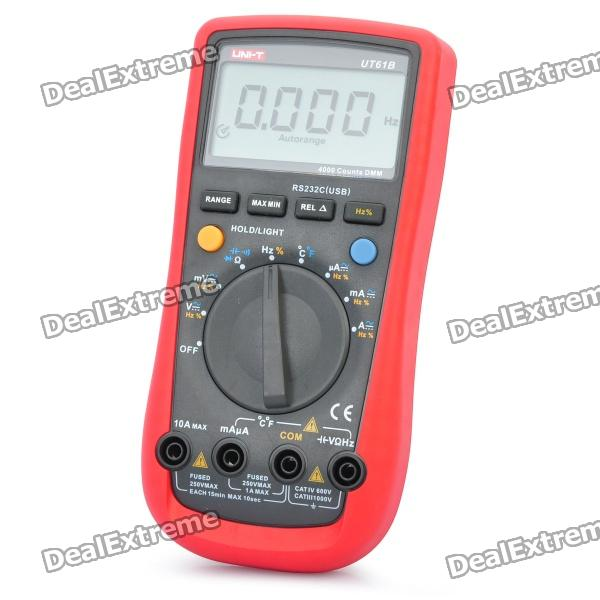 UNI-T UT61B 2.6 LCD Digital Multimeter - Red + Grey (1 x 9V) my68 handheld auto range digital multimeter dmm w capacitance frequency