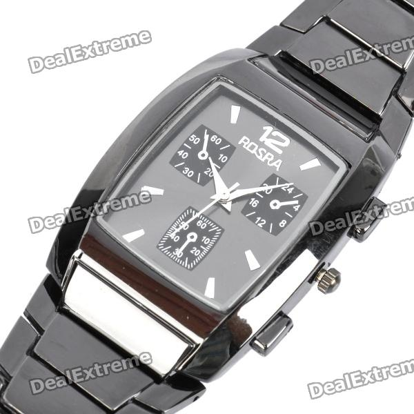 Stylish Men's Rectangle Stainless Steel Quartz Wrist Watch - Black (1 x LR626) stylish crystal stainless steel quartz water resistant wrist watch light blue 1 x lr626