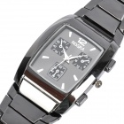 Stylish Men's Rectangle Stainless Steel Quartz Wrist Watch - Black (1 x LR626)