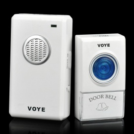 V002A 2W 38-Melody Wireless Doorbell Transmitter / Receiver Set - White (1 x 12V 23A / AC 220V)