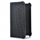 Crocodile Grain Pattern Protective PU Leather Swivel Holder Case for Samsung i9220 - Black