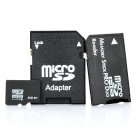 Micro SD/TF Card with SD Card and MS Card Adapter - Black (8GB / Class 6)