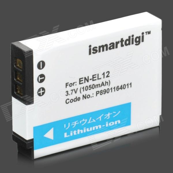 Ismartdigi EN-EL12 1050mAh 3.7V Lithium Battery for Nikon Coolpix S9100 + More - White