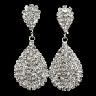 Angelina Jolie Handmade Imitated Diamond Water Drop Earrings -Silver