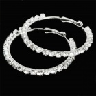 Round Circle Rhinestone Earrings- Silver (Pair)