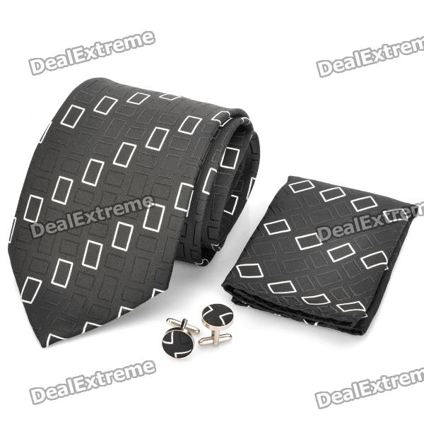 Fashion Men's Necktie + Handkerchief + Cuff Links - Black + White (Lattice)