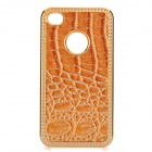 Protective PC Electroplating Cover Case for Iphone 4/4S - Golden + Brown