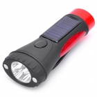 Hand-Cranked / Solar / Car Charger Powered 4-White 8-Red 2-Mode Alarm Flashlight - Black