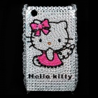 Shining Acrylic Diamond Hello Kitty Pattern Plastic Back Case for BlackBerry 8520 / 8530 - Silver