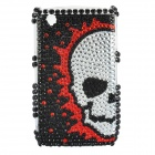 Fashion Acrylic Diamond Protective Back Case for Blackberry 8520 / 8530 - Black + Silver + Red