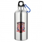 Spain National Soccer Team Logo Water Bottle with Carabiner - Silver