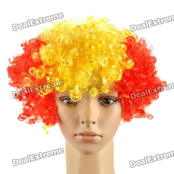 Spain Wig Hairpiece for Football Soccer Fans - Red + Yellow