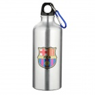 Barcelona Soccer Team Logo Water Bottle with Carabiner - Silver