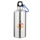 France National Soccer Team Logo Water Bottle with Carabiner - Silver (600ml)