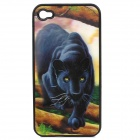Protective Back Case with 3D Graphic for iPhone 4 / 4S - Black Panther Pattern