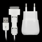 Multifunction USB charger with 3-in-1 Data Cable for iPhone/iPad/Samsung/Blackberry - White