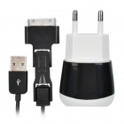 Multifunction USB charger with 3-in-1 Data Cable for iPhone/iPad/Samsung/Blackberry - White + Black