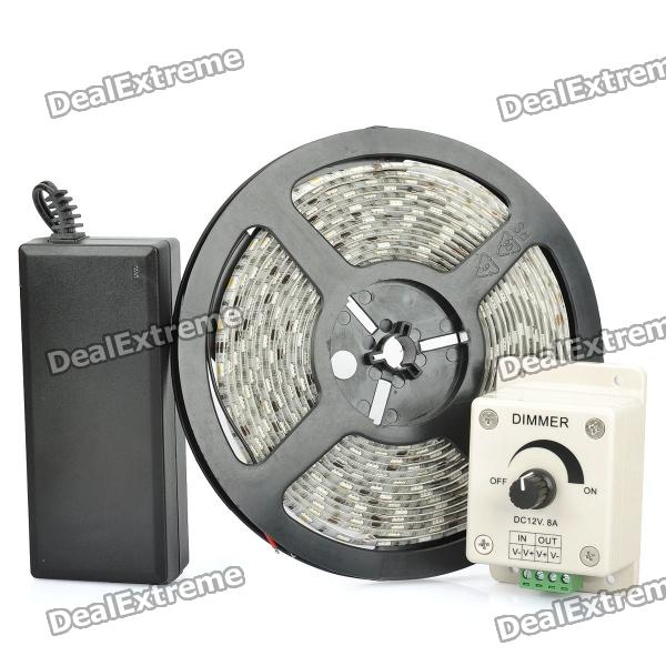 72W Soft Flexible Warm White 300-LED SMD Lamp Tape Strip with Dimmer (5M/DC 12V) waterproof 72w 3000lm 3500k 300 5050 smd led warm white flexible decoration strip lamp 12v 5m