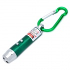 3-in-1 1mW Red Laser + White Light + Money Detector with Carabiner Clip - Green (3 x AG13)
