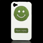 Creative Smiling Pattern Ultra-Slim ABS + Aluminum Alloy Case for Iphone 4 / 4S - White + Green