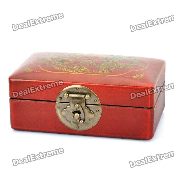 Antique Style Dragon and Phoenix Pattern Wooden Storage Box - Brownish Red