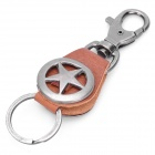 Cool Army Star Designed Cow Leather + Zinc Alloy Keychain - Brown + Silver