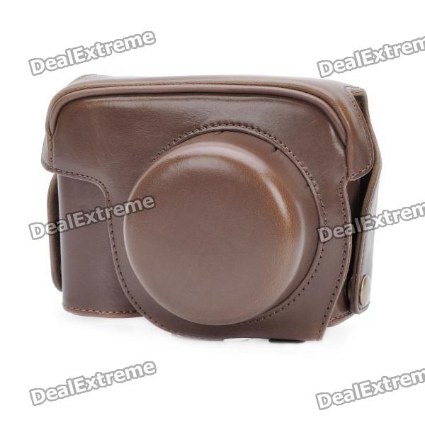 Protective Crazy Horse PU Leather Case for Canon G1X - Brown lapoe men crazy horse genuine leather backpack vintage casual male rucksack brown cowhide leather daypack for man hand bags