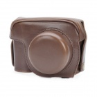 Protective Crazy Horse PU Leather Case for Canon G1X - Brown