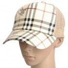 Stylish PU Leather Mesh Fabric Casual Cap Hat - Beige