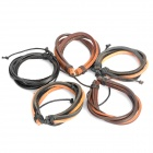 Cool Punk Style Cow Leather Bracelets (5-Pack / Random Color)