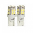 T10 1.5W 20x3528 SMD LED 6000~6500K 100~120LM Car White Light Bulbs (Pair)