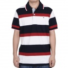 Fashion Horizontal Stripe Short Sleeves Polo Shirt T-Shirt - Dark Blue + Red + White (Size-M)