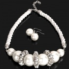 Stylish Acrylic Pearl Necklace + Earrings Set - White