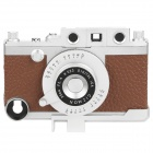 Vintage Leica Camera Style Protective PC + Leather Case for iPhone 4S - Silver + Brown