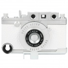 Vintage Leica Camera Style Protective PC + Leather Case for iPhone 4S - White + Silver