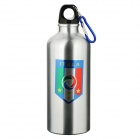 Italian Football National Team Badge Aluminum Alloy Water Bottle w/ Carabiner - Silver (600ml)