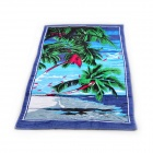 Coconut Palm Pattern Bath Beach Towel - Blue + Green + Black (140 x 70cm)