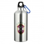 Brazil Football National Team Badge Aluminum Alloy Water Bottle w/ Carabiner - Silver (600ml)